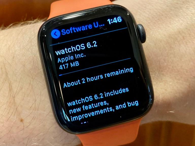 Combien de temps faut-il pour installer la mise à jour watchOS 6.2?