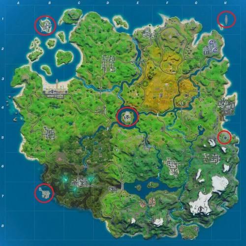 bases espionnage sur la carte Fortnite