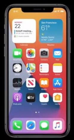 Widget sur l'écran d'accueil iOS 14