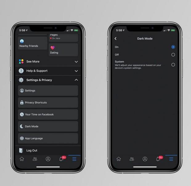 Dark Mode sur l'application mobile de Facebook