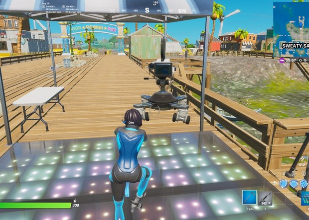 Fortnite : Danser devant la caméra pendant 10 secondes à Sweaty Sands