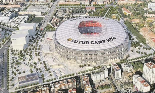 Projection du futur Camp Nou et de ses environs