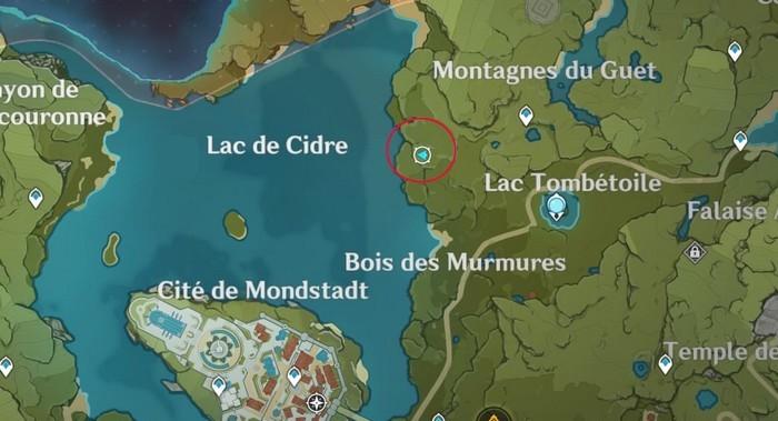 Emplacement de pommes Montagnes du Guet genshin impact