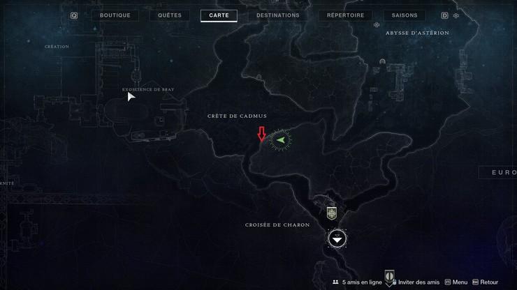 emplacement du Le Pingouin de la Crête de Cadmus Destiny 2, Au-delà de la Lumière