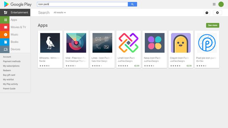 Capture d'écran du Google Play Store pour le pack d'icônes des résultats de recherche