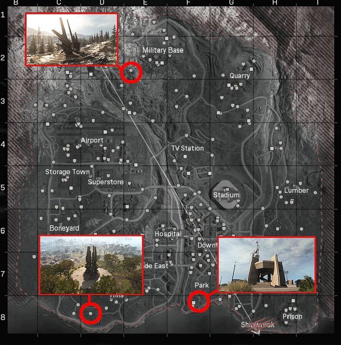 Les emplacements de trois nouveaux silos d'armes de Warzone Saison 2