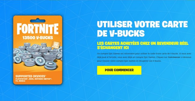 Comment avoir des cartes de V-Bucks Fortnite En France