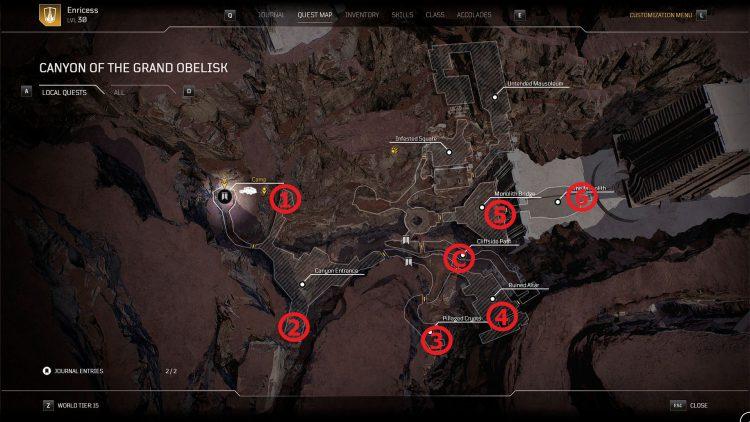 Emplacements des pierres angulaires Canyon Du Grand Obélisque Outriders